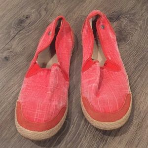 Ugg Red Slip on Canvas shoes size 10